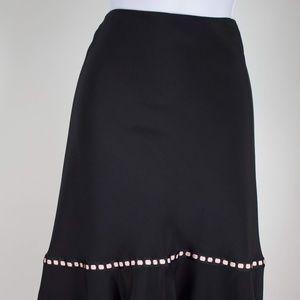 ECI NY women's skirt black long w/pink satin trim